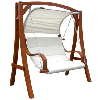 An Image of Wooden 3 Seater Swing Chair With Canopy Wood (Brown)