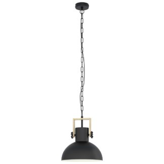 An Image of Eglo Lubenham Pendant Light - Black