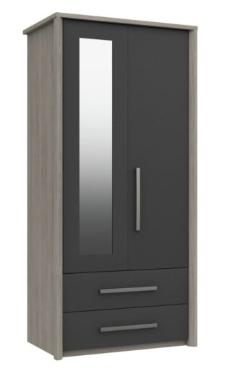 An Image of Grasmere 2 Door 2 Drawer Mirror Wardrobe - Dark Grey