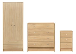An Image of Habitat Malibu 3 Piece 2 Door Wardrobe Set - Beech Effect
