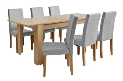 An Image of Habitat Miami XL Extending Table & 6 Black Chairs