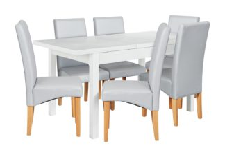 An Image of Argos Home Lyssa Wood Dining Table & 6 Skirted Grey Chairs