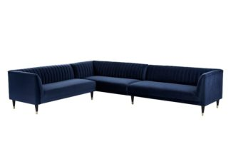 An Image of Baxter Large Left Hand Corner Sofa - Navy Blue