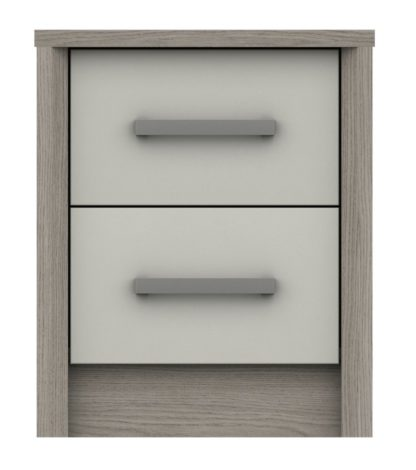 An Image of Grasmere 2 Drawer Bedside Table - White