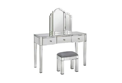 An Image of Argos Home Canzano Mirrored 3 Drawer Dressing Table Set