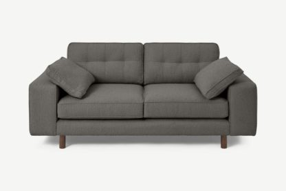 An Image of Content by Terence Conran Tobias 2 Seater Sofa, Charcoal Grey Boucle with Dark Wood Leg
