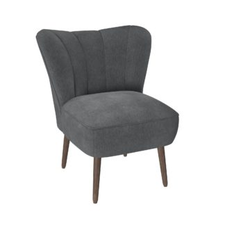 An Image of Abby Chenille Cocktail Chair - Charcoal Charcoal