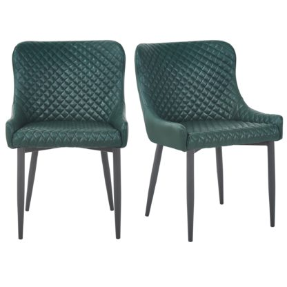 An Image of Montreal Set of 2 Dining Chairs Emerald Green PU Leather Emerald Green