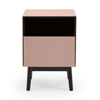 An Image of Monroe Glass Blush Bedside Table Pink