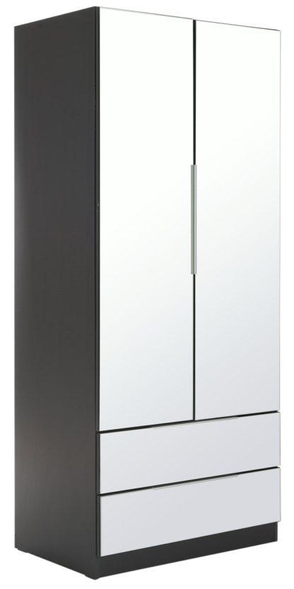 An Image of Argos Home Sandon 2 Door 2 Drawer Mirrored Wardrobe - Black