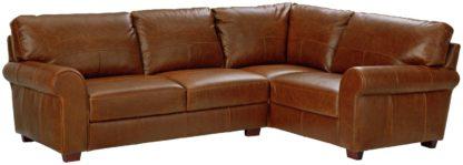 An Image of Habitat Salisbury Right Corner Leather Sofa - Tan