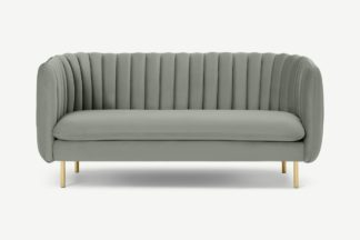 An Image of Helma 2 Seater Sofa, Sage Green Velvet