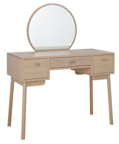 An Image of Habitat Moorlands 3 Drawer Dressing Table - Oak Veneer