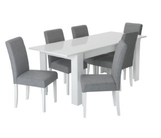 An Image of Habitat Miami Gloss Extending Table & 6 Tweed Chair -Grey