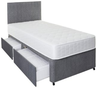 An Image of Argos Home Elmdon Single Memory 2 Drawer Divan Bed - Grey