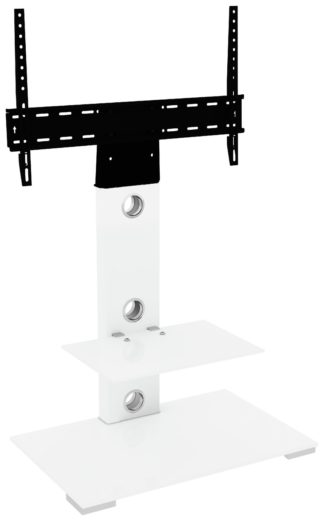 An Image of AVF Column Mount Up to 65 Inch TV Stand - White