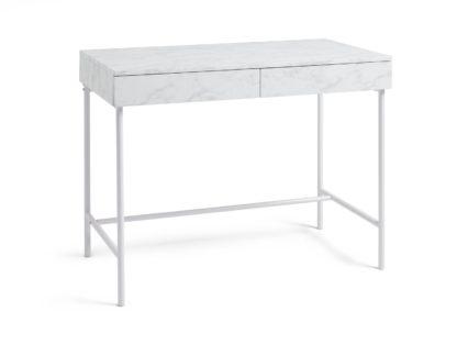 An Image of Habitat Marble Effect 2 Drawer Desk