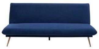 An Image of Habitat Matteo 2 Seater Velvet Sofa Bed - Blue