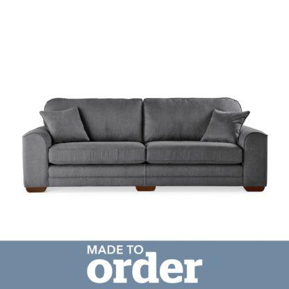 An Image of Morello 4 Seater Sofa Brushed Plain Fabric Blue