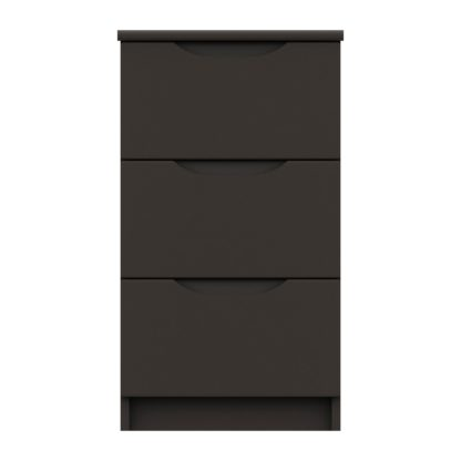 An Image of Legato Graphite Gloss 3 Drawer Bedside Table Black