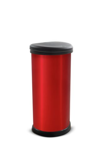 An Image of Curver 40 Litre Deco Touch Top Kitchen Bin - Red