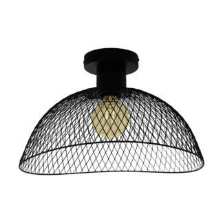 An Image of Eglo Pompeya Mesh Flush Ceiling Light - Black