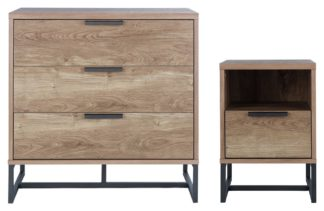 An Image of Habitat Nomad Bedside & 3 Drawer Chest Set - Oak Effect