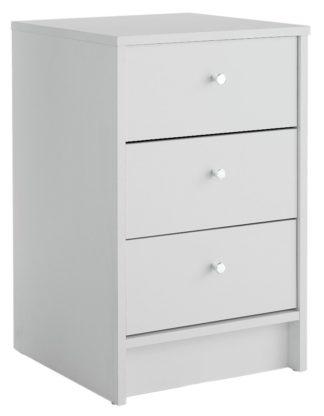 An Image of Habitat Malibu 3 Drawer Bedside Table - White