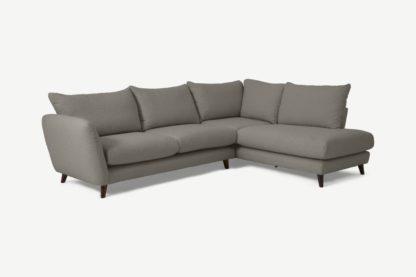 An Image of Elmira Right Hand Facing Corner Sofa, Dove Grey Boucle