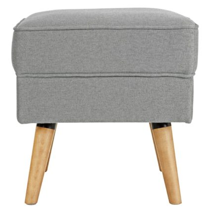 An Image of Habitat Callie Fabric Footstool - Light Grey