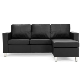 An Image of Zara Reversible Faux Leather Corner Chaise Black