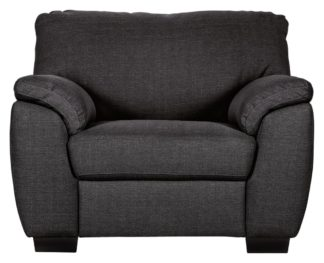 An Image of Argos Home Milano Fabric Chair and 3 Seater Sofa - Charcoal
