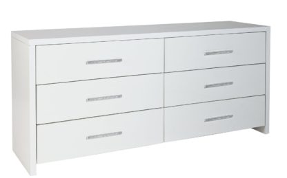 An Image of Habitat Broadway 3+3 Drawer Chest - White Gloss & White