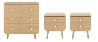An Image of Habitat Etta 2 Bedside Table & 3 Drawer Chest Set - Oak