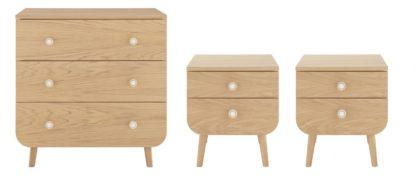 An Image of Habitat Etta 2 Bedside Table & 3 Drawer Chest Set - Oak