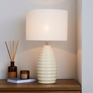 An Image of Norden Ribbed Ceramic Ivory Table Lamp White