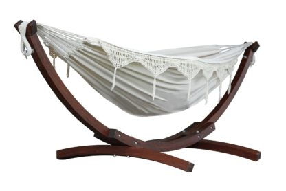 An Image of Vivere Solid Wood Hammock - Natural