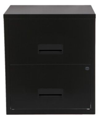 An Image of Pierre Henry A4 2 Drawer Filing Cabinet - Black