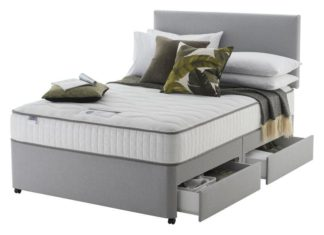 An Image of Silentnight Middleton Double 800 Pkt Memory 4Drw Divan -Grey