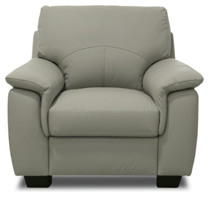 An Image of Argos Home Lukah Leather Mix Chair - Grey