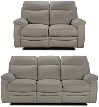 An Image of Argos Home Paolo 2 & 3 Seater Manual Recliner Sofas - Grey