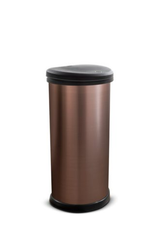 An Image of Curver 40 Litre Deco Touch Top Kitchen Bin - Rose Gold