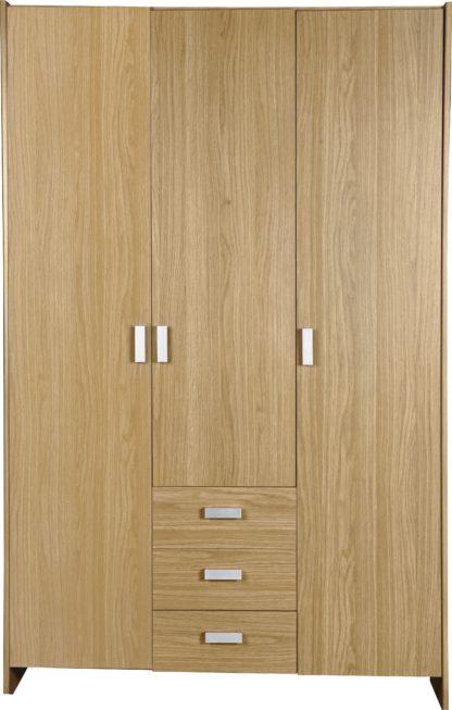 An Image of Argos Home New Capella 3 Door 3 Drawer Wardrobe - White