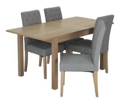 An Image of Habitat Clifton Extending Table & 4 Button Chairs - Grey