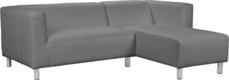 An Image of Habitat Moda Right Corner Faux Leather Sofa - Grey