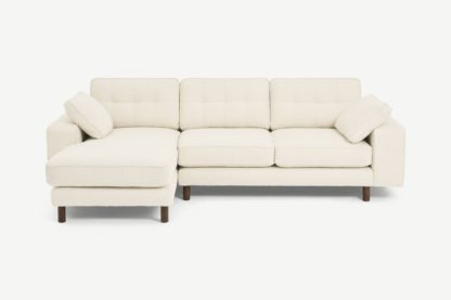 An Image of Content by Terence Conran Tobias Left Hand Facing Chaise End Sofa, Ivory White Boucle with Dark Wood Leg