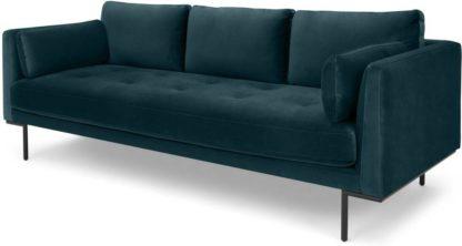 An Image of Harlow, 3 Seater Sofa, Coastal Blue Velvet