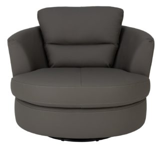 An Image of Argos Home New Trieste Leather Mix Swivel Chair - Grey