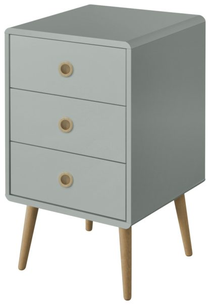 An Image of Softline 3 Drawer Bedside Table - Grey