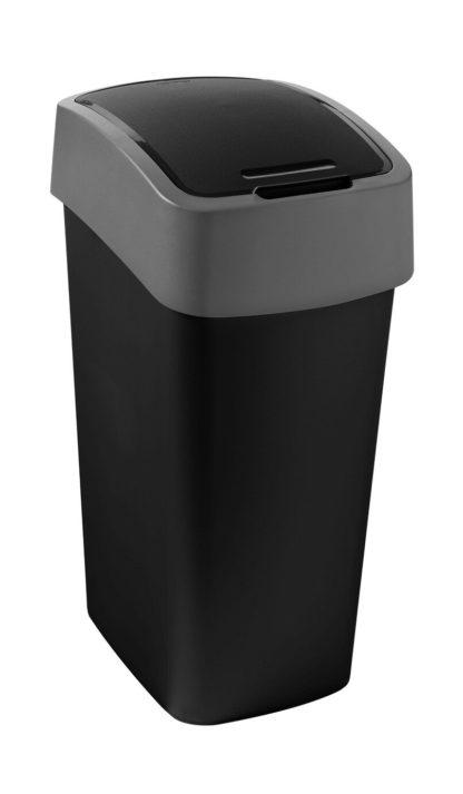 An Image of Curver Pacific 45 Litre Flip Top Kitchen Bin - Black